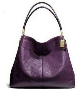 Coach Violet Purple Pebbled Leather Madison Phoebe